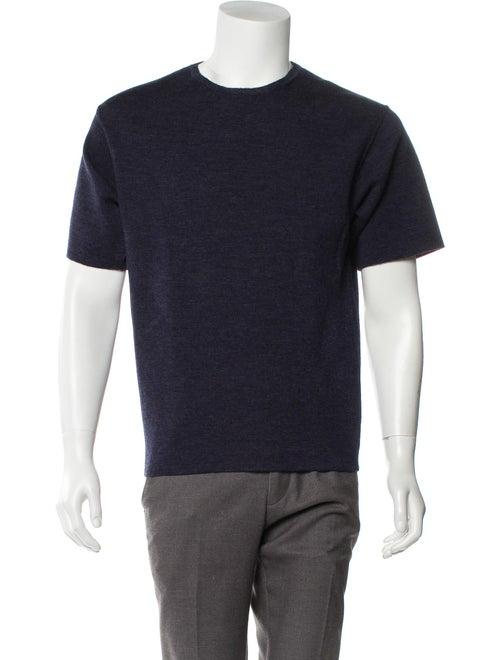 Bottega Veneta Wool Short Sleeve Sweater navy