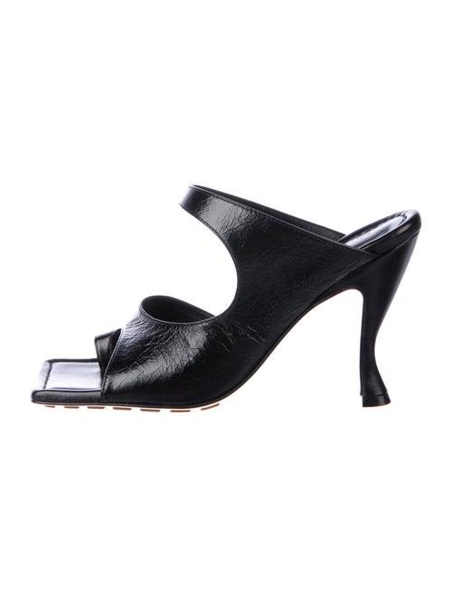 Bottega Veneta Leather Slides Black