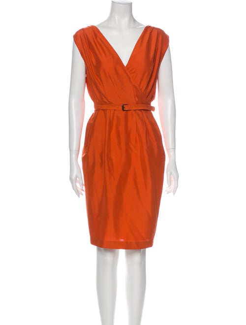 Bottega Veneta Silk Knee-Length Dress Orange