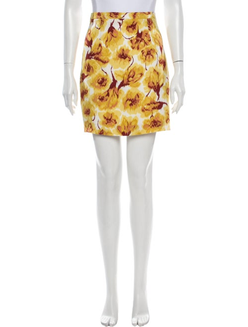 Bottega Veneta Floral Print Mini Skirt Yellow
