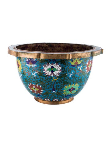 chinese cloisonne jardiniere bowl decor and accessories bowls20037 the realreal. Black Bedroom Furniture Sets. Home Design Ideas