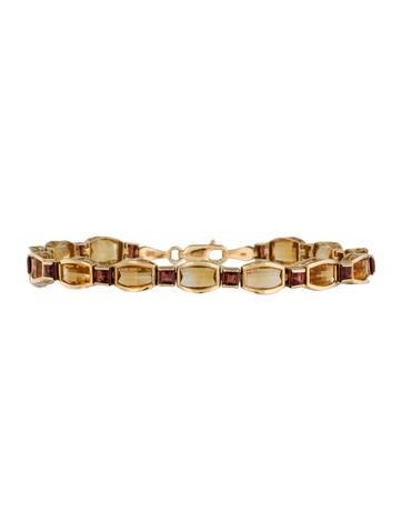 Citrine and Garnet Line Bracelet