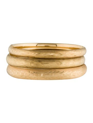 14K Textured Bangle Set Of Three None