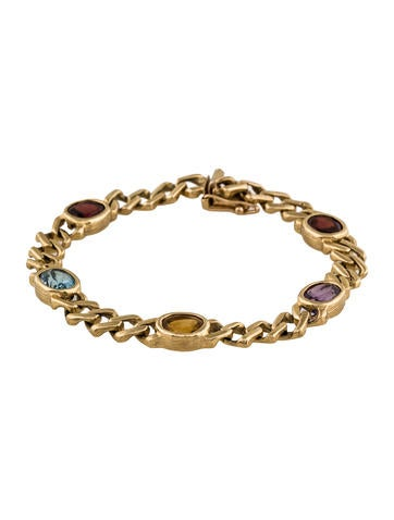 14K Gemstone Station Bracelet None