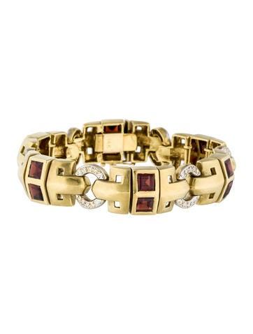 18K Garnet & Diamond Station Link Bracelet None