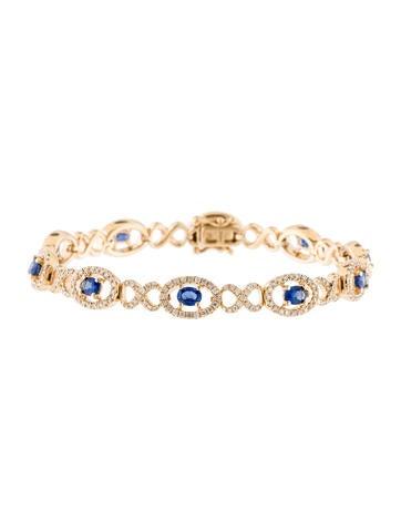 14K Diamond & Sapphire Bracelet None