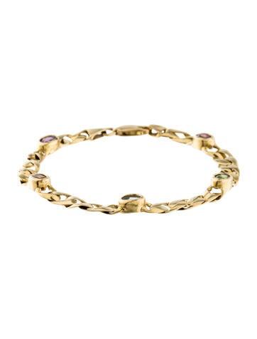 14K Multistone Link Bracelet None