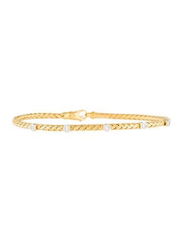 14K Diamond Station Bangle Bracelet None