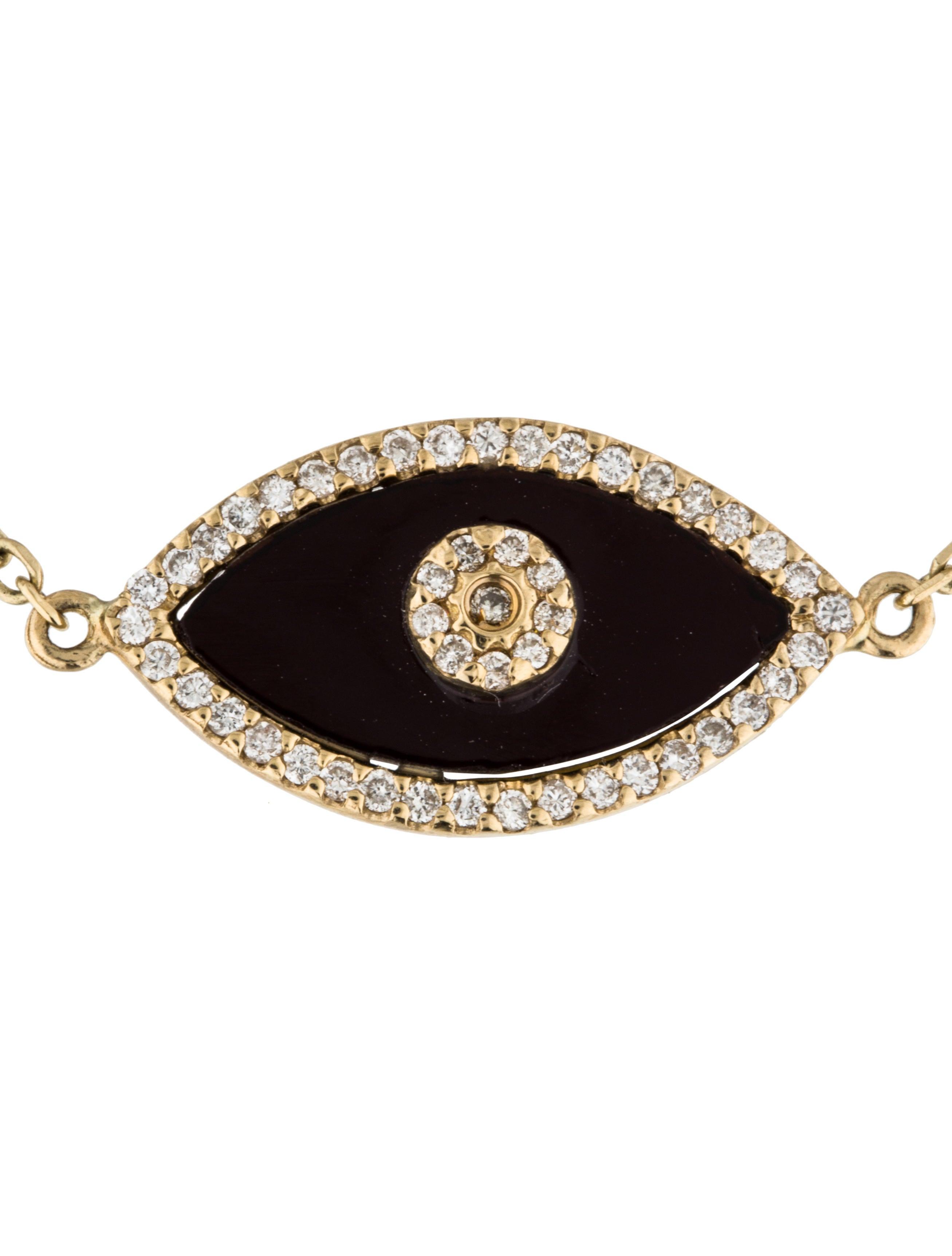14k Diamond Amp Onyx Evil Eye Bracelet Bracelets
