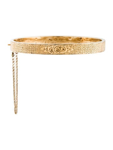 Etched 14K Floral Bangle None
