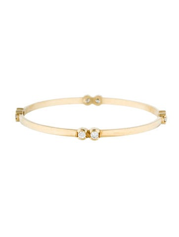 14K Diamond Station Bangle