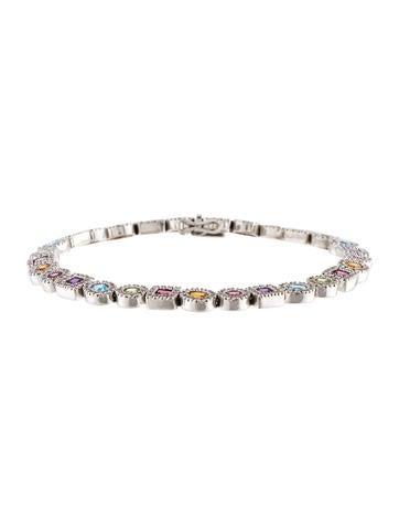 18K Gemstone & Diamond Halo Bracelet None