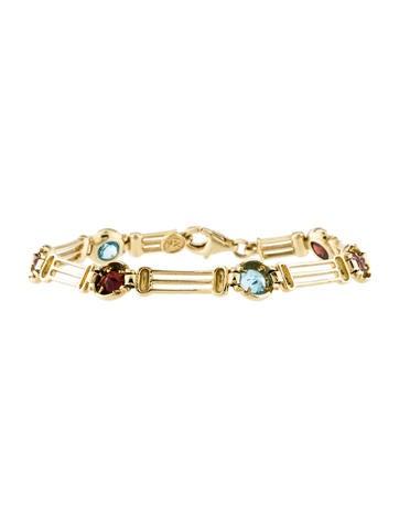 14K Gemstone Link Bracelet None
