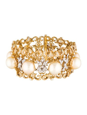 18K Pearl & Diamond Link Bracelet