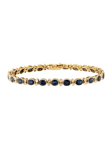 18K Diamond & Sapphire Link Bracelet