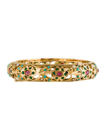18K Multistone Hinge Bangle