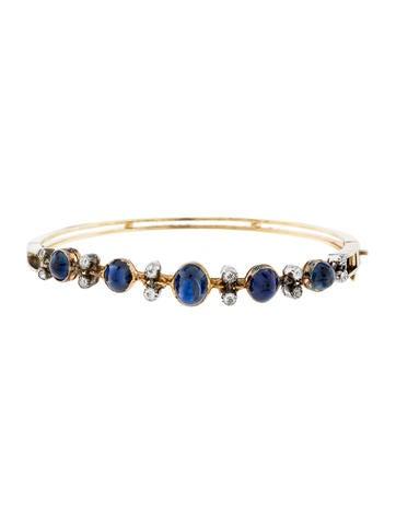 18K Sapphire & Diamond Bangle Bracelet