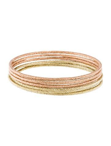14K Textured Bangle Bracelet Set