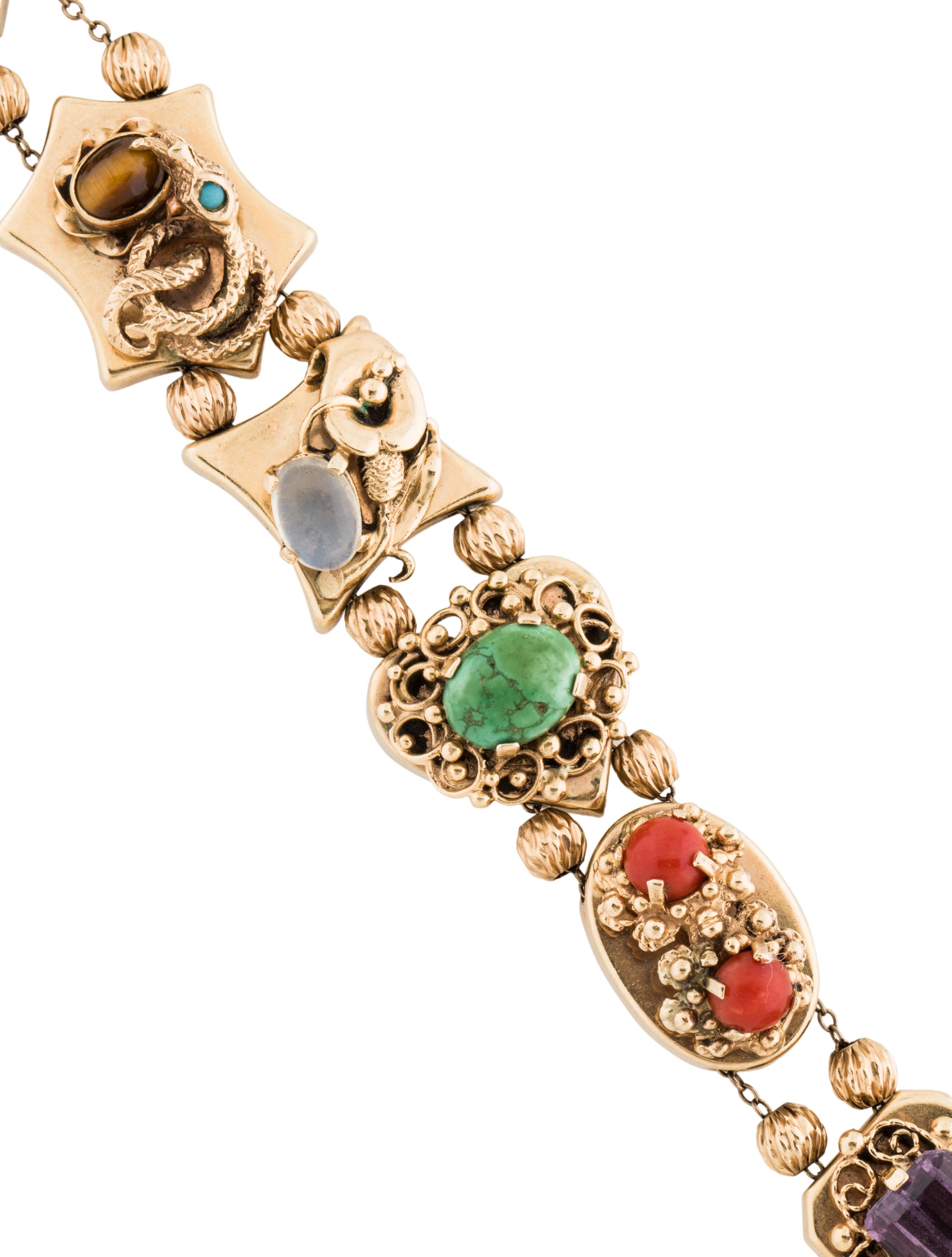 14k multistone slide charm bracelet bracelets