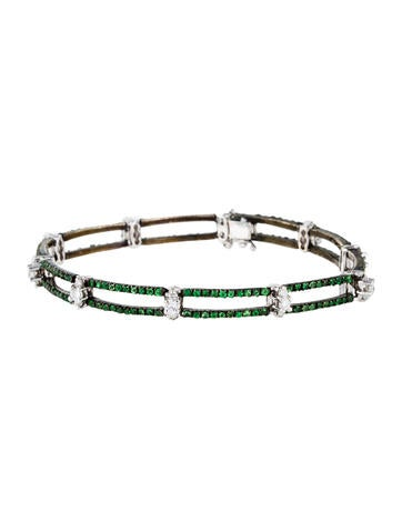 18K Tsavorite & Diamond Link Bracelet None
