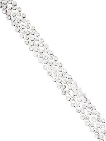 Bracelet 18k 5 Dot 55ct Diamond Multistrand Bracelet on outdoor stone bar