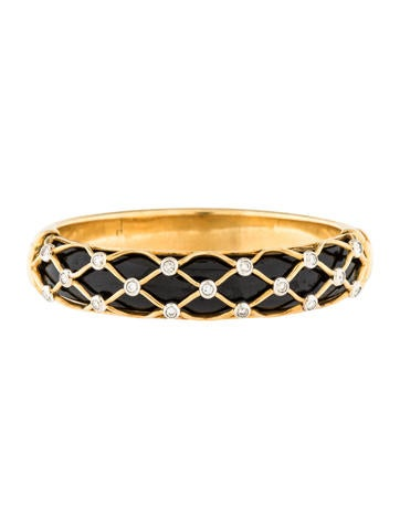 18K Diamond & Enamel Bangle Bracelet None
