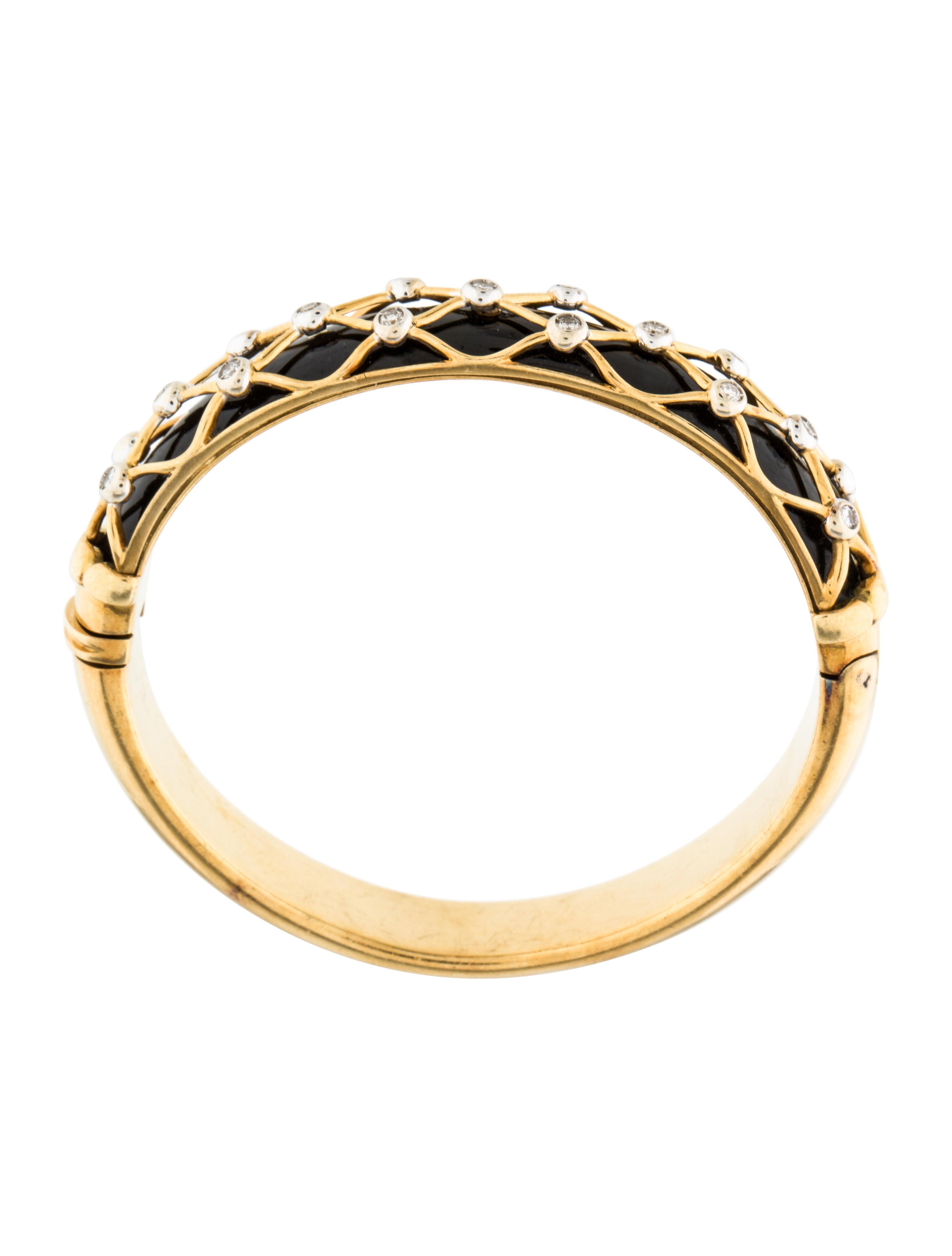 18k diamond enamel bangle bracelet bracelets. Black Bedroom Furniture Sets. Home Design Ideas