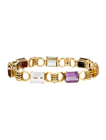 Bracelet 18K Multi-Stone Link Bracelet None