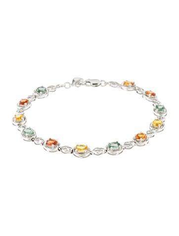 Bracelet 18K Multi-color Sapphire Link Bracelet None