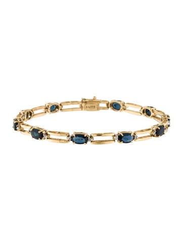 14K Sapphire & Diamond Link Bracelet None