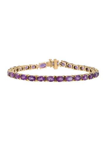 14K Amethyst & Diamond Link Bracelet None