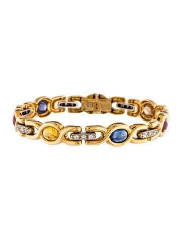 18K Diamond & Sapphire Bracelet None
