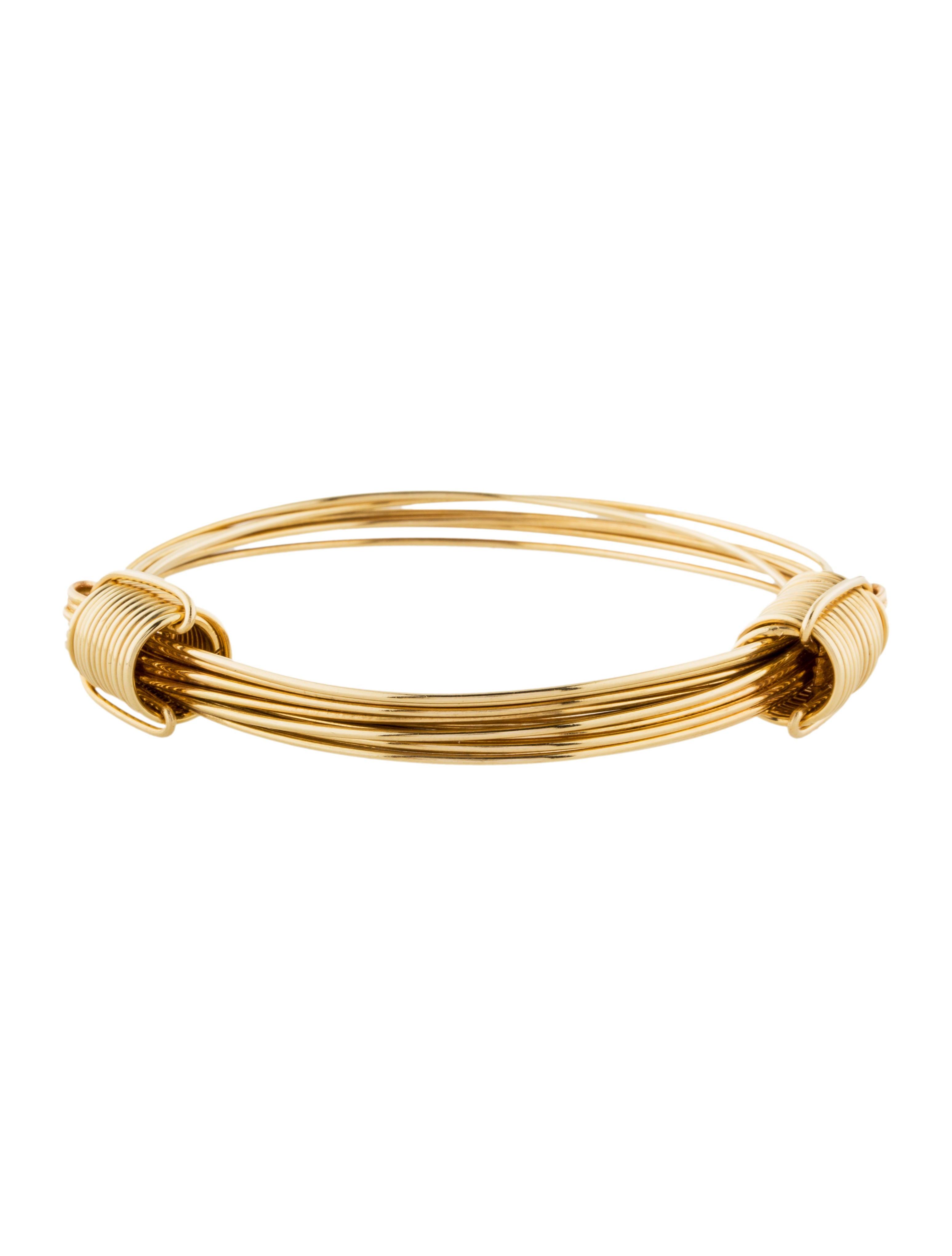 14k expandable bangle bracelets brace26808 the realreal