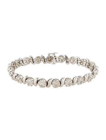 14K Diamond Flower Link Bracelet None