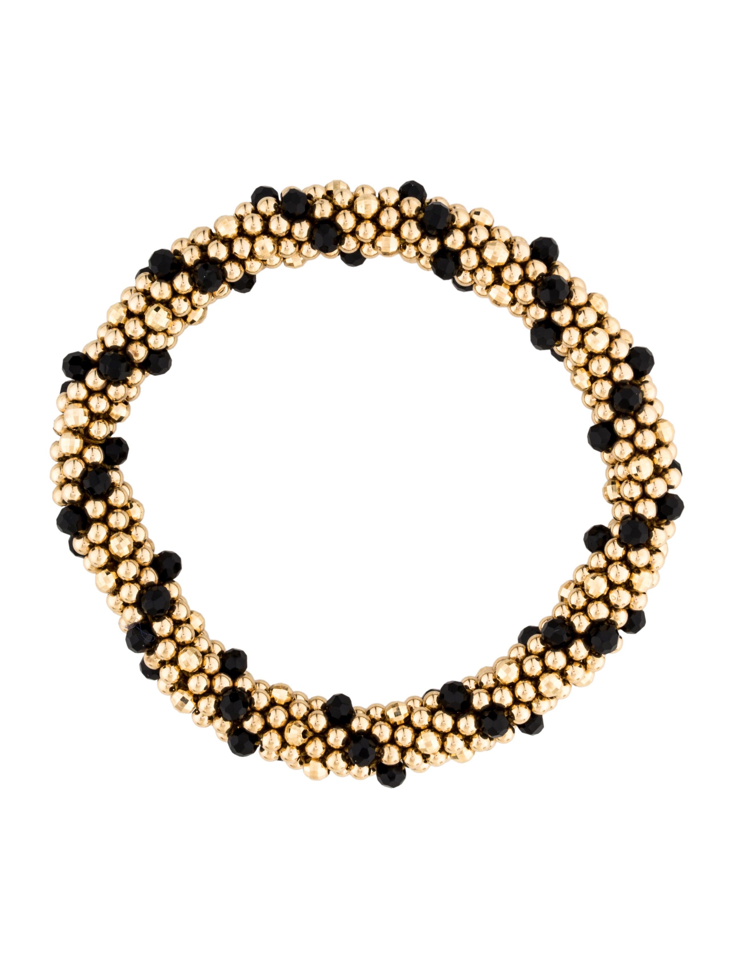 14k onyx bead bracelet bracelets brace27342 the realreal