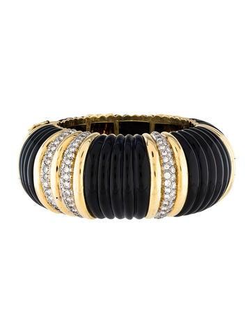 18K Diamond & Onyx Bangle Bracelet None