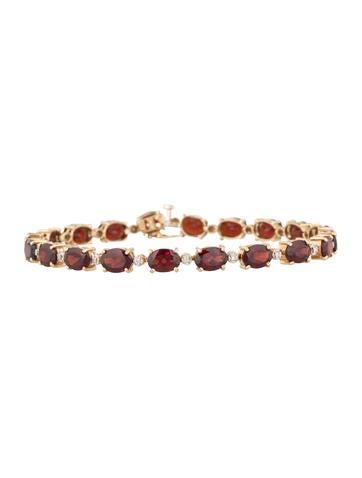 14K Diamond & Garnet Link Bracelet None