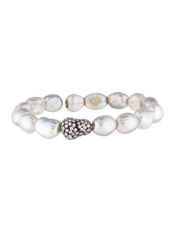 Bracelet 18K Diamond & Pearl Flexible Cuff None