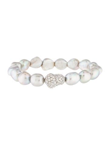 18K Diamond & Pearl Flexible Cuff Bracelet None