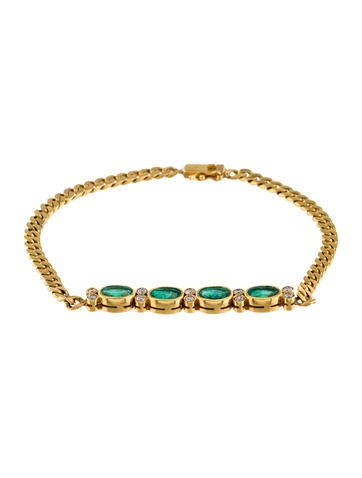 14K Emerald & Diamond Link Bracelet None