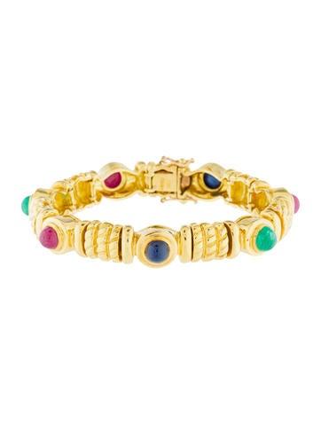 18K Emerald, Sapphire & Ruby Link Bracelet None