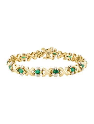 14K Emerald & Diamond X Link Bracelet None