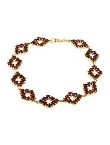 18K Garnet Link Bracelet None