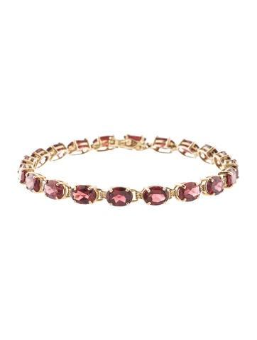 14K Garnet Link Bracelet None