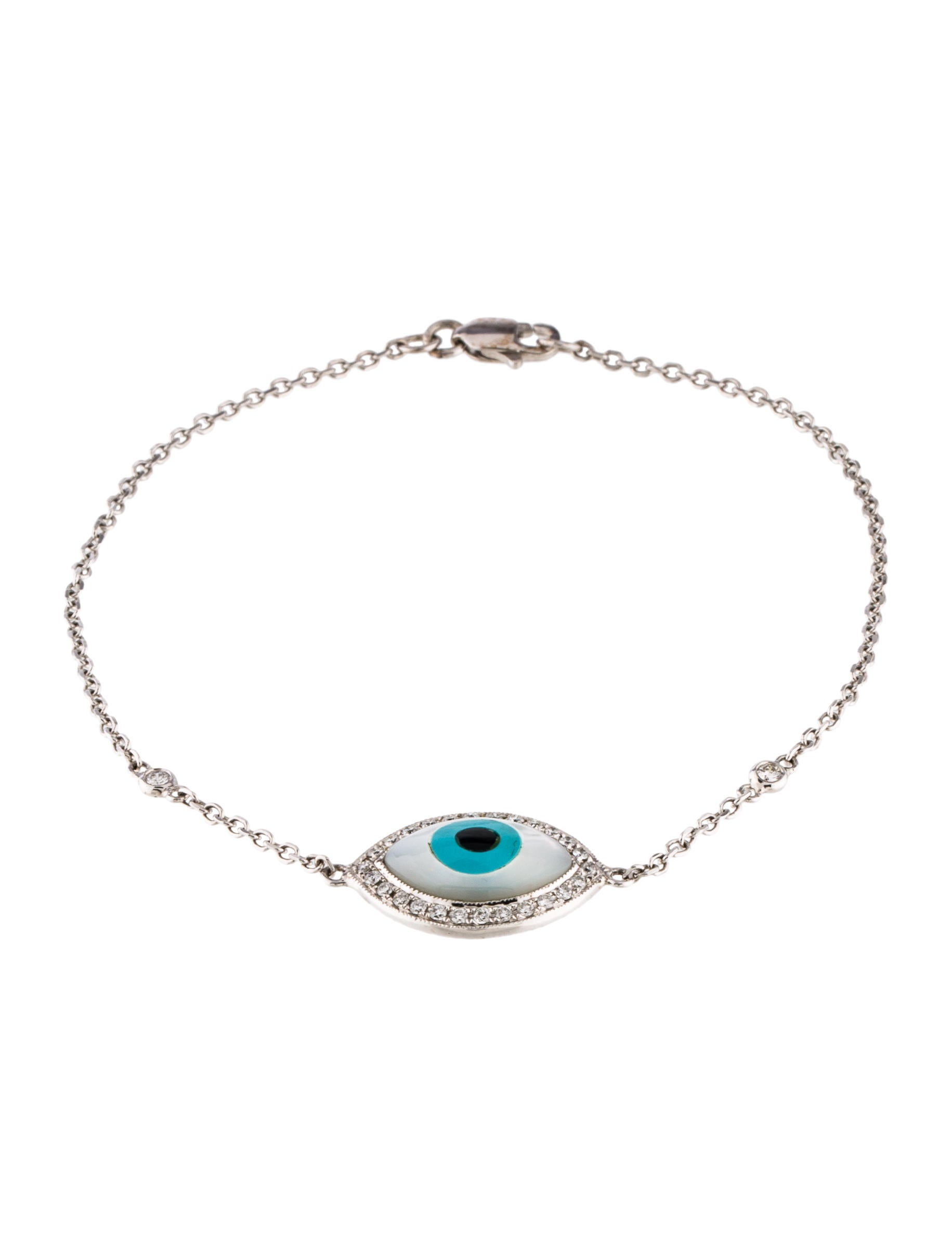 product white bracelet a evil small sapphire eye and diamond gold