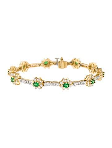18K Tsavorite & Diamond Link Bracelet None