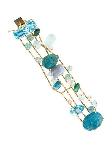 18K Four Row Multistone & Diamond Bracelet None