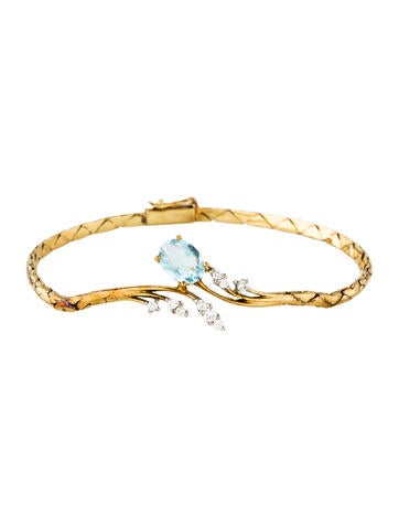 14K Aquamarine & Diamond Bracelet None