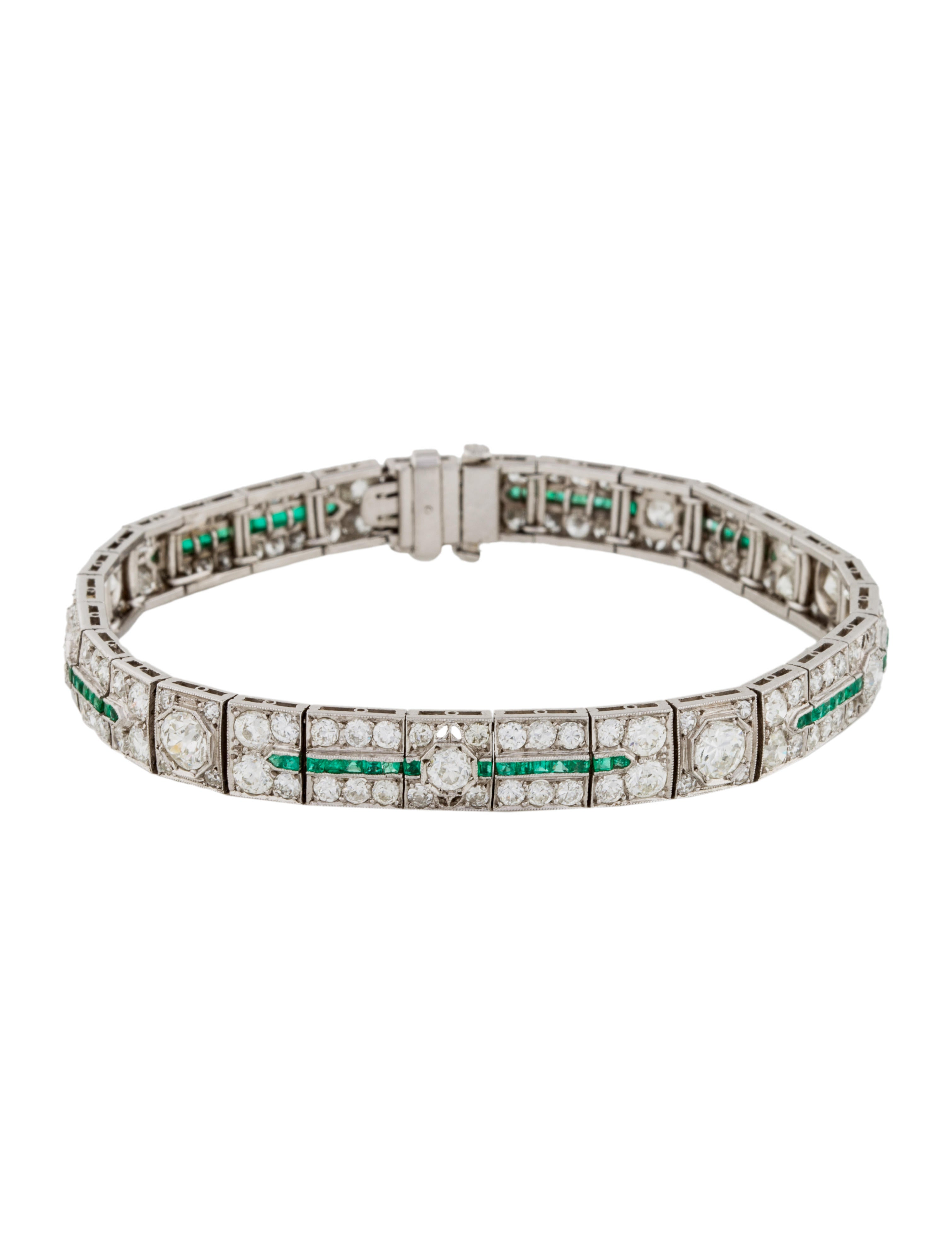 emerald collections bracelet art and colombian deco eleuteri french diamond important