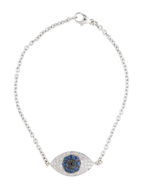 18K Sapphire & Diamond Evil Eye Bracelet white